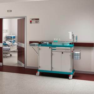 Essential: a patient hygiene and linen trolley for hospitals and nursing homes