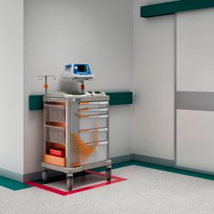 PERSOLIFE emergency trolley, or crash cart, in a hospital corridor