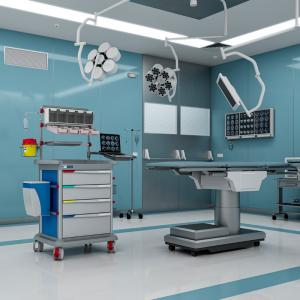 Blue PRECISO anaesthesia trolley in an operating room